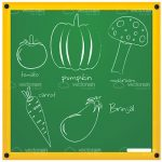 Illustrated Sketched Vegetables on a Green Chalk Board