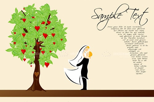 Bride and Groom Cuddling by Tree with Hearts with Sample Text
