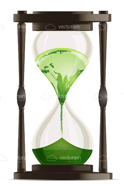Hourglass with Green World Map Inside
