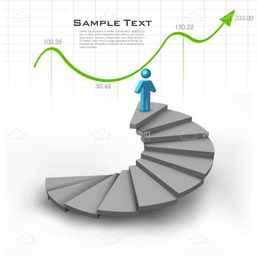 Abstract Man on Top of Spiral Stairs with Business Graphic