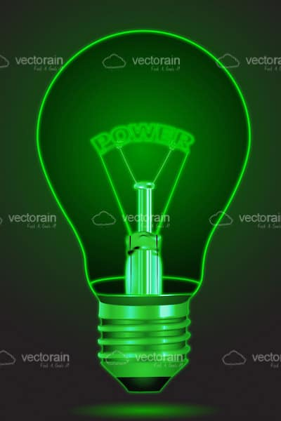 Green Glowing Lightbulb with Power Text Inside
