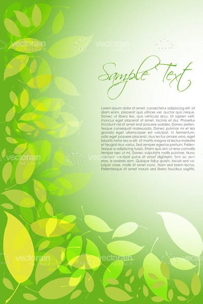 Nature Background with Green Leaves Pattern and Sample Text
