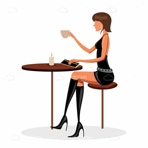 Fashionable Woman Sitting on Table Drinking Coffee