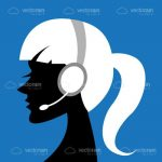 Silhouette of Woman with Headset