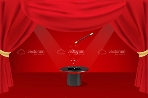 Magician Top Hat and Wand on Stage with Red Curtains