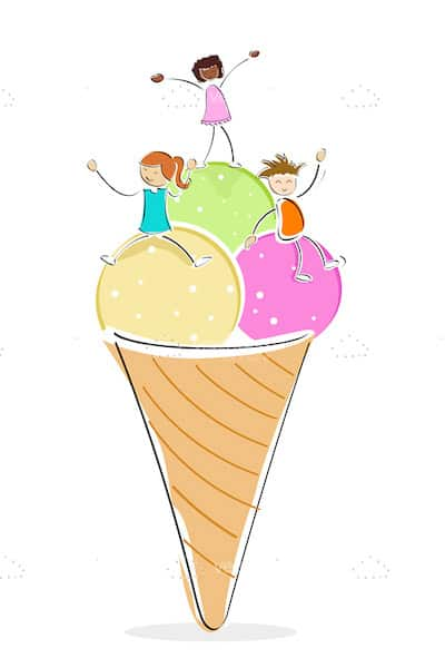 Abstract Ice Cream Cone with Children