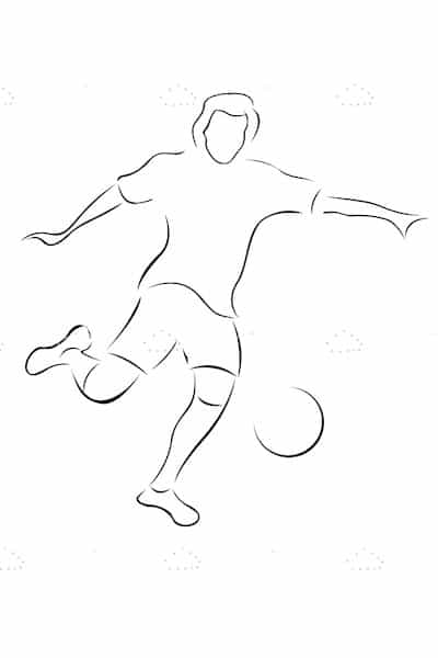 Soccer Player Kicking Ball in Sketch Style