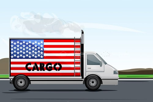 Cargo Truck with USA Flag and Text
