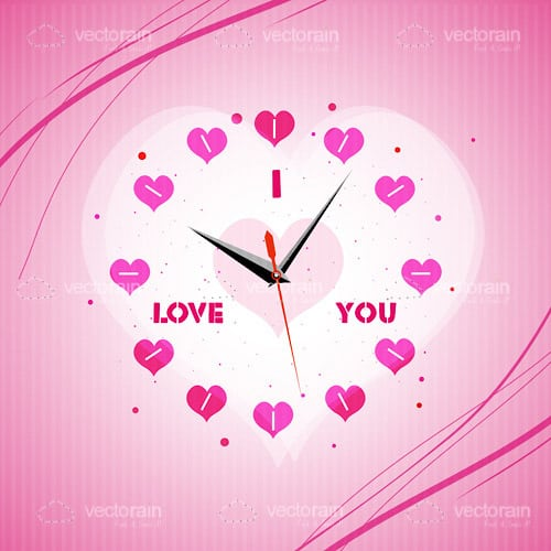 Pink Heart Shaped Clock