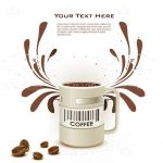 Coffee Mug with Barcode, Brown Details and Sample Text