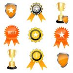 Award Trophies and Badges Icon Set