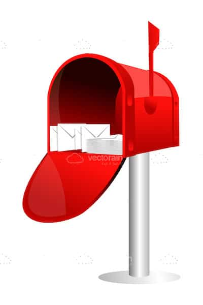 Bright Red Letterbox with Mail
