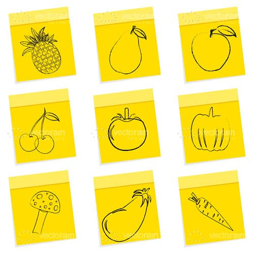 Sketched Fruit and Veg on Sticky Notes 9 Pack