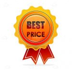 Gold Best Price Badge with Red Ribbons