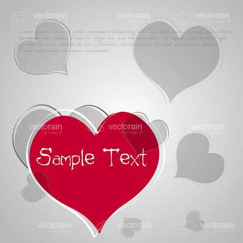 Grey and Pink Hearts Background with Sample Text