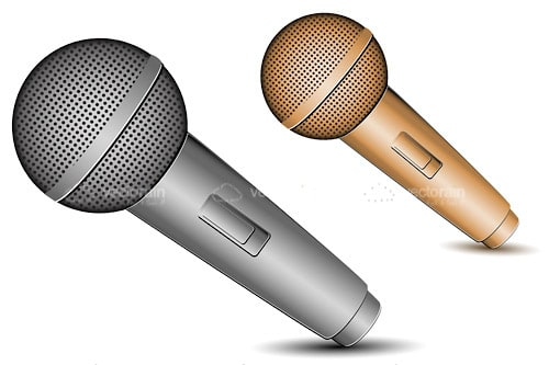Pair of Silver and Bronze Microphones