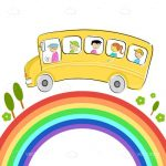 Illustrated School Bus Over Rainbow