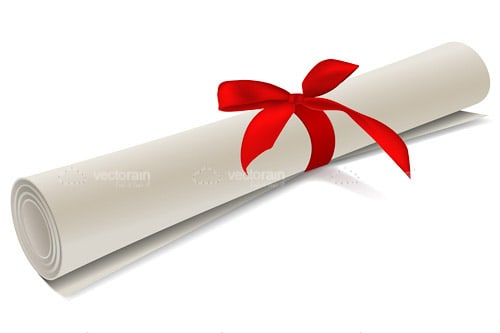 Rolled Up Diploma with Red Ribbon