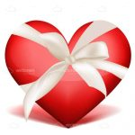 Big Red Heart in a White Bow Tied Ribbon