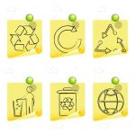 Sketched Recycling Icons on Post It Notes