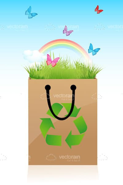 Cheerful Recycle Bag with Grass, Butterflies and Rainbow
