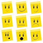 Yellow Post its with Different Expressions Emoticons