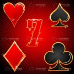 Colourful Playing Card Symbols and Lucky 7 Icon