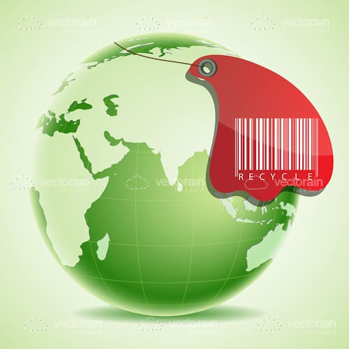 Green Earth with Recycle Barcode