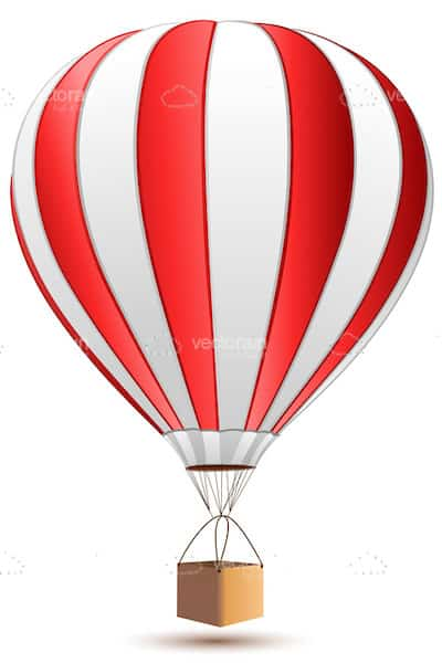 Red and White Hot Aire Balloon
