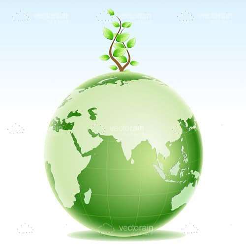 Green Earth with Tree Growing from North Pole