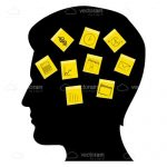 Silhouette Male Head filled with Sticky Notes