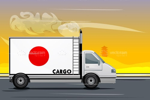 Cargo Van with Japanese Flag