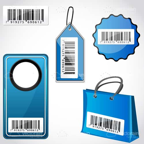 Various Tags and Items with Barcodes