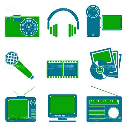 Multimedia Entertainment Icon Set