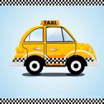 Illustrated Taxi on Blue Background