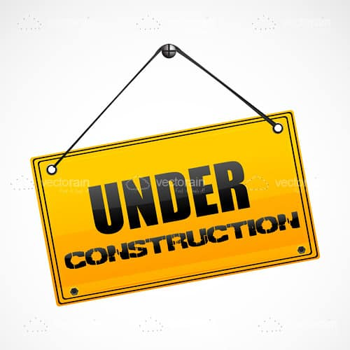 Under Construction Sign Hanging from a Nail