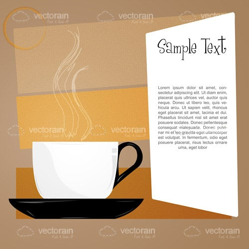Hot Coffee with a Menu and Sample Text