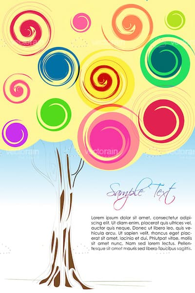 Abstract Colorful Tree with Sample Text
