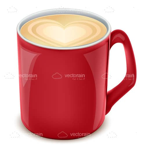 Red Coffee Mug with Foam Milk Heart