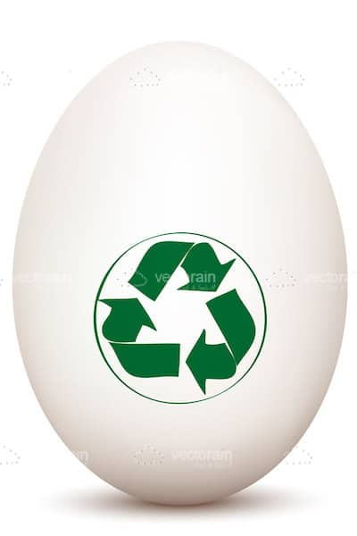 White Egg with Green Recycle Symbol