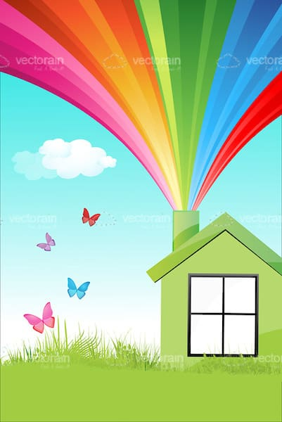 Illustrated Greenhouse with Rainbow Coming out of Chimney