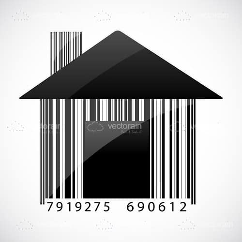 Abstract House with Barcode Pattern