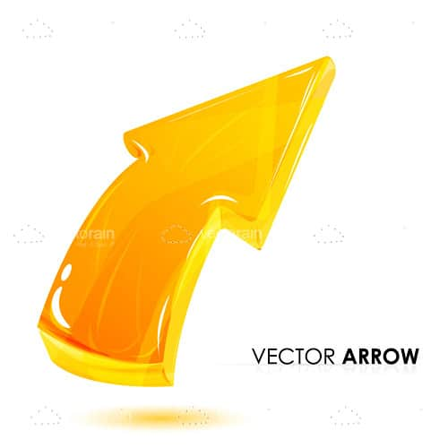 Glossy Yellow Arrow with Sample Text