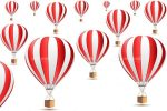Hot Air Balloons or Parachutes in Red and White