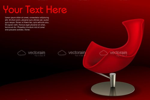 Modern Red Chair in Dark Red Background with Sample Text