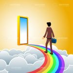 Businessman on Rainbow Bridge with Golden Door