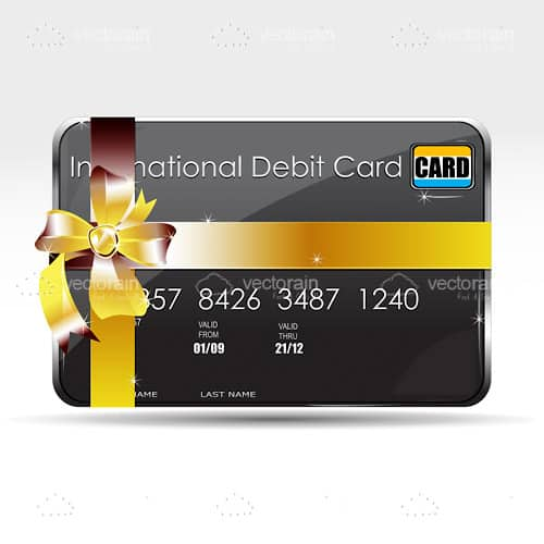 Debit Card with Glossy Ribbon and Bow