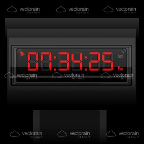 Digital Clock with Red Glowing Numbers