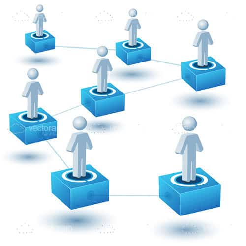 Abstract Networking Concept with People and Blocks