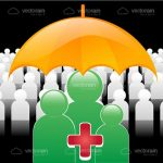 Abstract People under Umbrella with Red Cross Sign